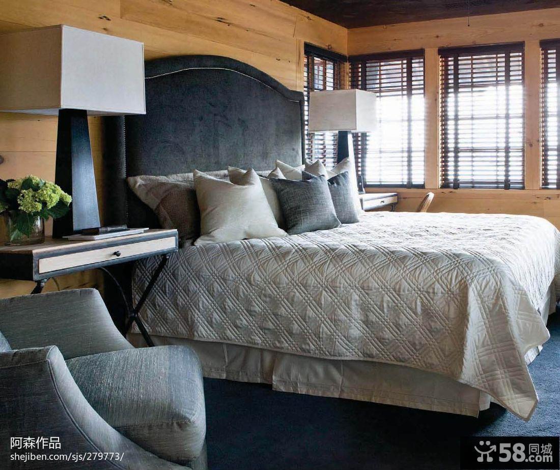现代美式卧室背景墙