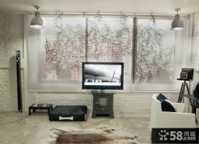 客厅纱窗窗帘电视背景墙装修效果图