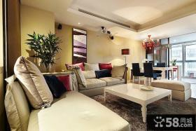 暖暖现代简约小户型客厅装修效果图大全2014图片