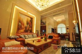 欧式风格客厅沙发手绘画背景墙效果图