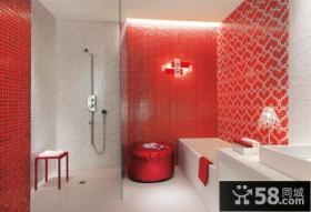 红白色瓷砖卫生间玻璃隔断装修效果图