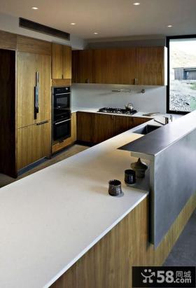 美式家居厨房橱柜大理石台面图片