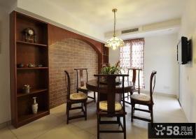 中式餐厅实木家具摆放效果图片