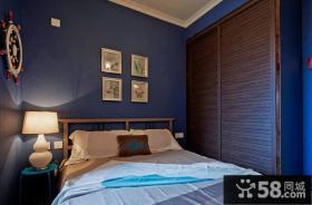 美式田园风格蓝色壁纸卧室装修