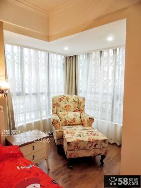 中式家居卧室转角窗帘效果图
