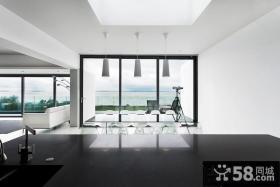 极简的白色现代风格厨房装修效果图大全2012图片