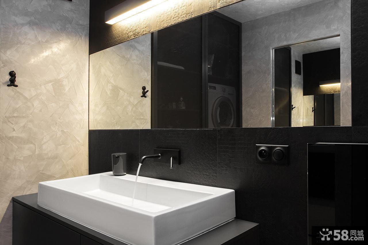 黑白卫生间洗手盆装饰