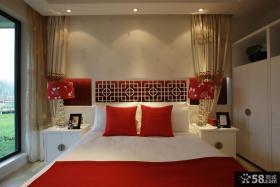 中式风格婚房婚床布置图片