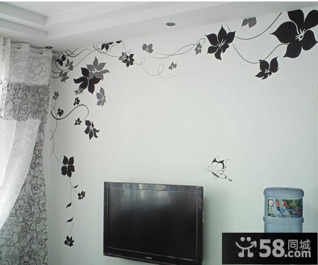 简单黑白墙绘图案