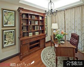 美式书房书桌书柜效果图