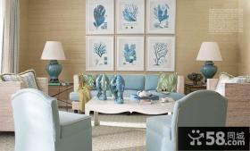78平米小户型淡蓝色调客厅装修效果图大全2014图片