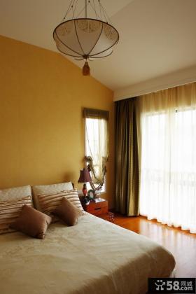 中式卧室窗帘装修效果图片